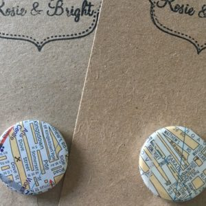 vintage map badges from Rosie and Bright