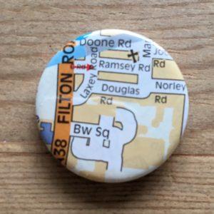 custom made vintage map badges