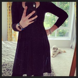 Rosie wearing a black dress made from bamboo jersey for me made may 2020 week 3