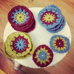 crochet circles ready to be made into squares for a sunburst granny blanket