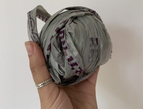 A ball of plarn made from cut up plastic carrier bags