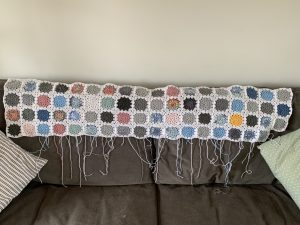 Sky Blanket March Update - a granny square blanket with each square representing a day and the colour of the sky