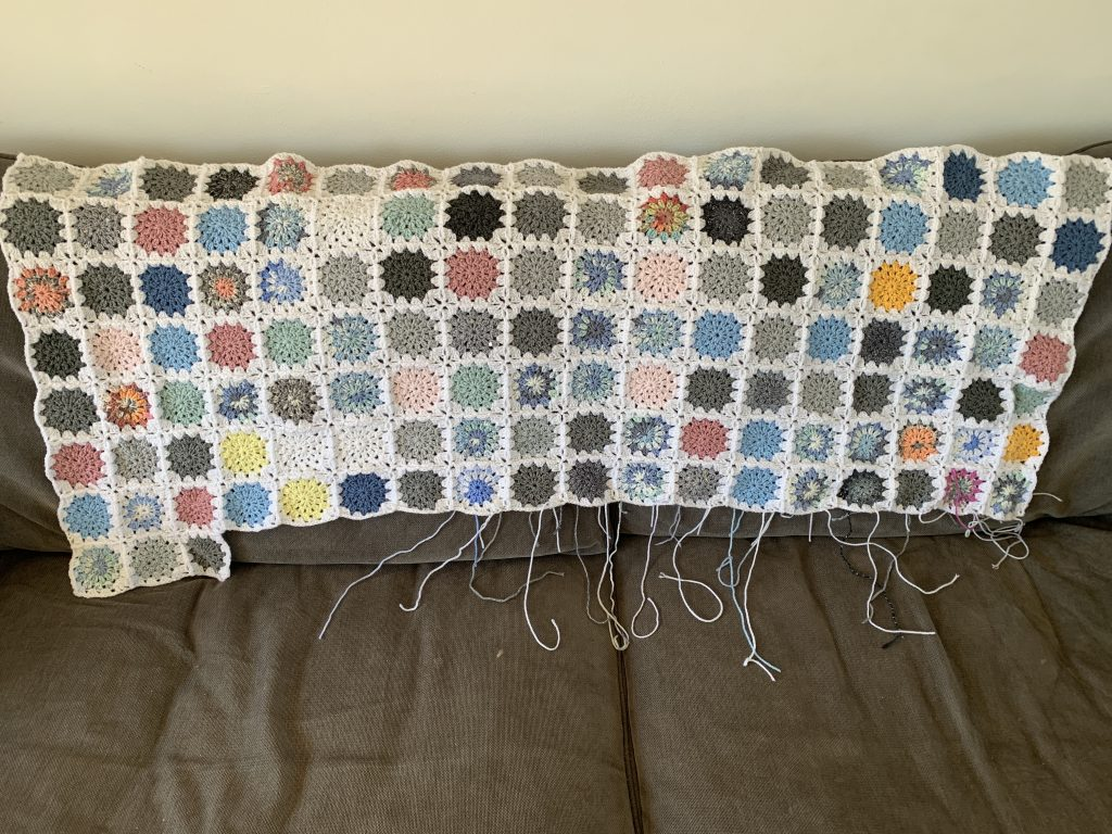 Sky blanket may update: a crochet blanket with the colours of each granny square inspired by the colour of the sky each day